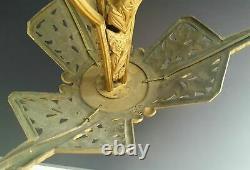 Grand Lustre Sculpture Art Deco En Bronze 1925 1930 Estampille Mh Suspension
