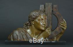 Grand Sculpture art deco Bronze Muse Danse Bracquemont Terpsichore Lyre Etling