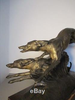 Grande STATUE SCULPTURE Bronze ANIMALIER ART DÉCO 1930 Lévriers greyhounds