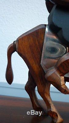 Grande Sculpture Art Deco Sancho Panza Ebene Macassar Et Chrome