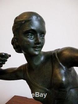 Grande Statue sculpture Art Déco BRONZE Femme à l'arc signée S. MELANI 1925