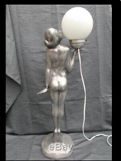 Grande lampe art deco femme nue 76cm vintage sculpture lamp nude woman design