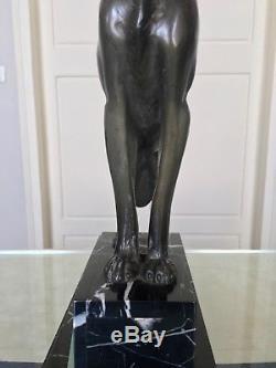 Grande sculpture Art Déco Lévrier régule marbre onyx Décoration animalier statue