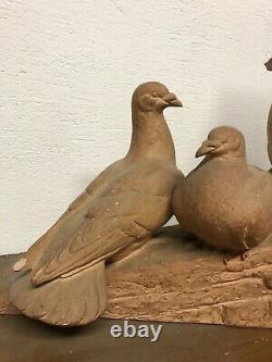 Henri Bargas Terre Cuite Pigeon Paon Sculpture Art Deco