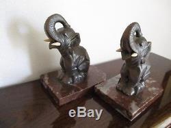 Hyppolite MOREAU Sculptures éléphants Serre livres ART DECO