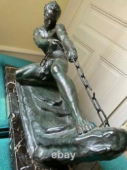 IMPOSANTE SCULPTURE ART DÉCO 1930 Jean de Roncourt sur socle en marbre