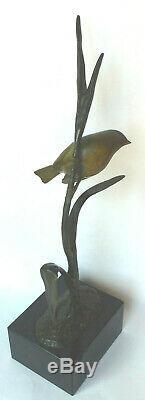 Important bronze Irénée Rochard moineau sur une branche sculpture XXe Art Déco