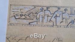 Jan joël Martel rare dessin art déco atelier projet de sculpture soldat poilus
