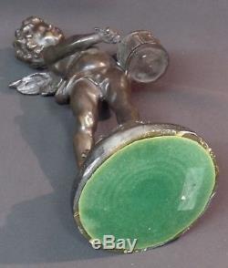 Jolie paire statuette sculpture bronze 33cm5kg angelot musicien putti chérubin