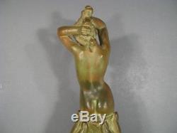 L'offrande Sculpture Ancienne Femme Nue Art Déco Terre Cuite Signée Bouraine