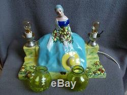 Lampe veilleuse art deco GAZAN Etling sculpture femme en porcelaine statue lamp