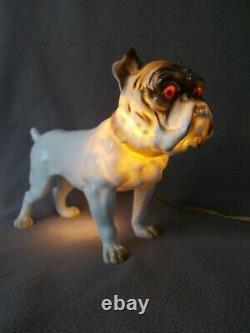 Lampe veilleuse art deco sculpture english bulldog anglais statue en porcelaine