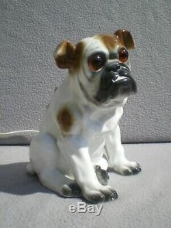 Lampe veilleuse brule parfum ROSENTHAL art deco bulldog anglais statue sculpture