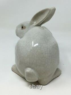 Lapin Craquelé Art Déco Céramique 1930 Rabbit Ceramic French Figure Sculpture
