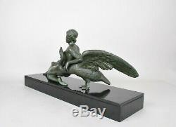 Léda et le cygne, sculpture signée Neva, art déco, XXème siècle
