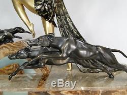 Limousin Sublime Sculpture Diane Chasseresse Art Deco 1925 Onyx Statue Levriers