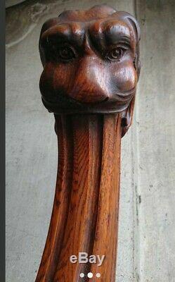Lion Bois Départ D'escalier Art Déco Ébéniste Vintage ébénisterie sculpture wood