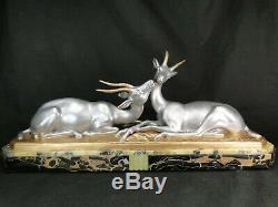 Louis Carvin Sublime Sculpture Art Deco Deux Gazelles Signee Fonte D'art Statue