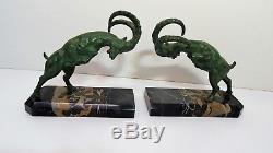 Louis FONTINELLE Paire de Serre livres sculpture de bouquetins Art Déco