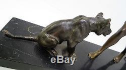 Louis RICHE élégante aux lionnes Sculpture bronze Art Deco antike Skulptur