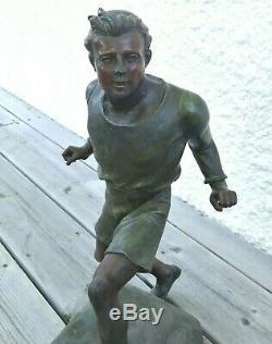 Marcel DEBUT (1865-1933) sculpture art déco sprinter 1920 grand modèle sport art