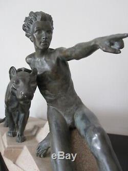 Max Le Verrier Ancienne grande sculpture Mowgli et panthère Bagheera. Art Déco