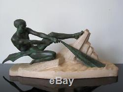 Max Le Verrier Grande sculpture Le Pêcheur Art Deco