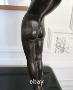 Max Le Verrier Lampe ART DECO Illuminating Art Deco Sculpture Lamp