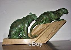 Max Le Verrier & MeriadecRare sculpture art deco Les félins Panthères