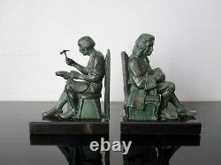 Max Le Verrier Serre-livres sculptures Savatier et Financier signés M Le Verrier