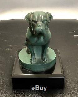 Max Leverrier Sculpture Mascotte Bouledogue Fonte Dart Patine Verte Art Deco