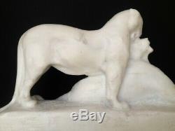 Maximilien Fiot (1886-1953) Rare Sculpture De Pantheres En Pierre Sculptee