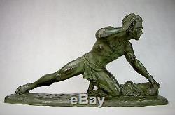 Melani Guetteur Spl. Statue Art Deco Terre Cuite Pat. Bronze Homme Nu Sculpture
