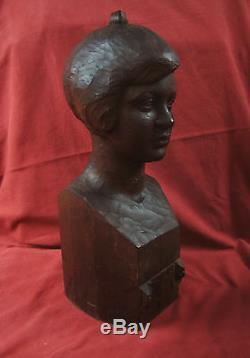 Numa Patlagean Buste Jeune Fille Enfant Sculpture Art Deco Bois Sculpteur Juif