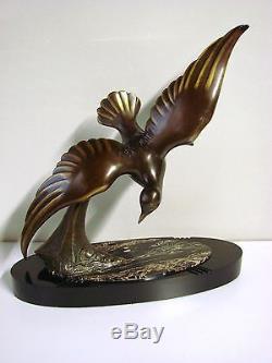 P. Hugonnet Ancienne Sculpture En Bronze Art Deco Mouette / Statue Marine
