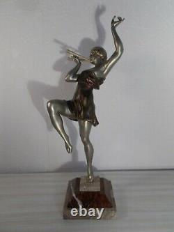 Paire de sculpture chryselephantine art deco 1930 LIMOUSIN statue femme danseuse