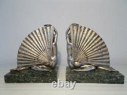 Paire de sculpture en bronze argenté art deco statuette femme nue a l'eventail
