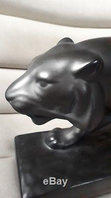 Panthère céramique art deco sainte redegonde sculpture déco XX pottery french