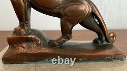 Panthere sculpture animalière Art Déco régule signé FRECOURT Maurice XXe
