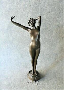 Philippe Grande Sculpture Bronze Nu Féminin Réveil Bronze Art Déco 1930 (1)