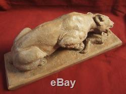 Pierre Dandelot Panthere Lionne Sculpture Art Deco Terre Cuite Animalier Bronze