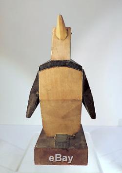 Pingouin art déco sculpture bois 1930
