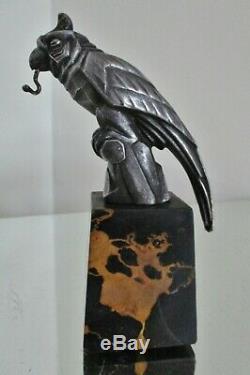 Porte montre sculpture animalière Perroquet Art déco socle marbre portor 1925