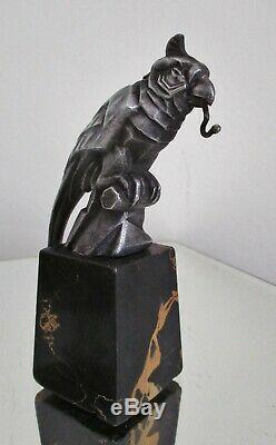 Porte montre sculpture animalière Perroquet Art déco socle marbre portor 1925/30