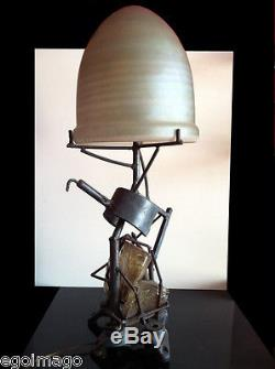 RARE LAMPE SCULPTURE signée S. CONTINI Vers 1980 ART BRUT