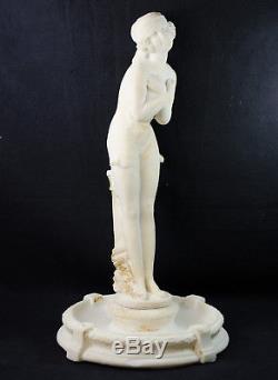 RARE SCULPTURE ART DéCO BAIGNEUSE FEMME SOURIANTE CALCAIRE FONTAINE PéTRIFIANTE