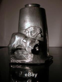 RARE VASE ART DECO SCULPTURE by ALFREDO BIAGINI (1886-1952) LES LIONNES 4/10