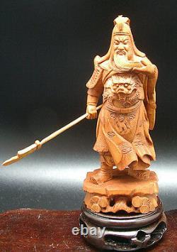 Rare Superbe Sculpture En Bois Poirier Personnage Guangong Porte Bonheur
