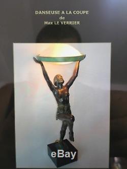 Rare Verre De Lampe MAX LE VERRIER STATUE SCULPTURE ART DÉCO