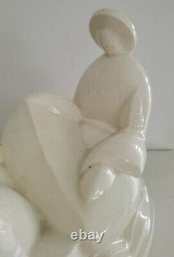 Rare sculpture Primavera art deco craquelé
